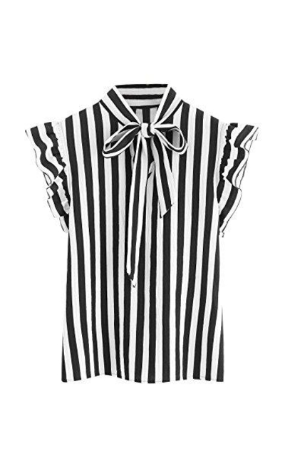 Floerns  Bow Tie Striped Top