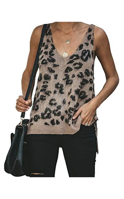 HZSONNE Leopard Sweater Tank Top