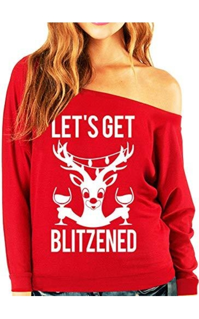 Let's Get Blitzened Red Christmas Slouchy Sweatshirt