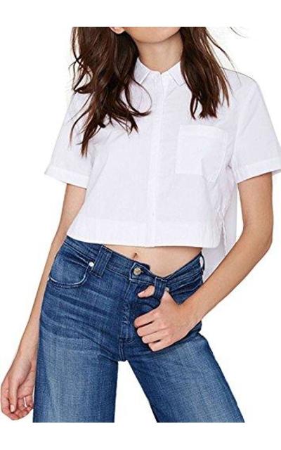 missomo Short Sleeve Pockets Button Crop Shirt