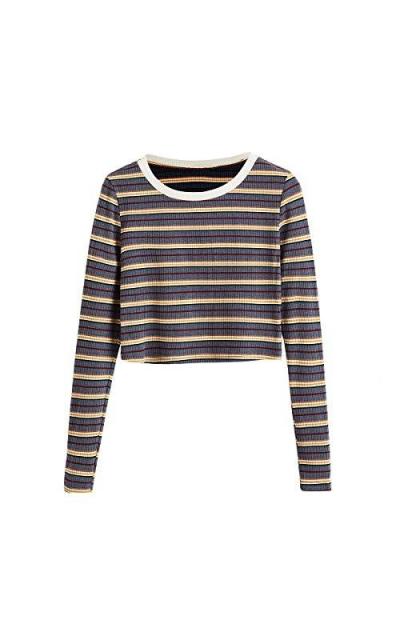 SweatyRocks Mock Neck Long Sleeve Striped Crop Top