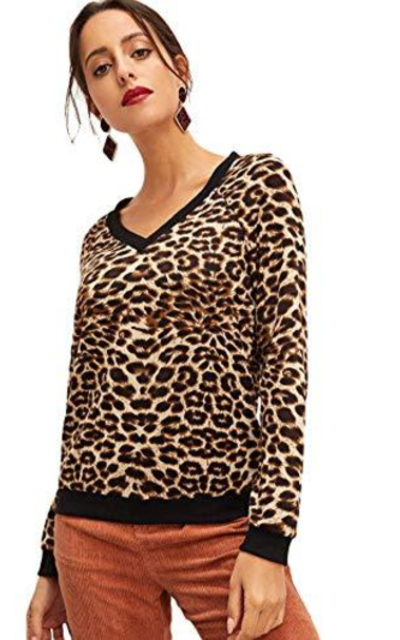 SweatyRocks Leopard Sweatshirt