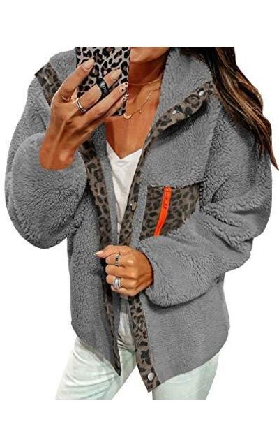 ECOWISH Fleece Leopard Pullover