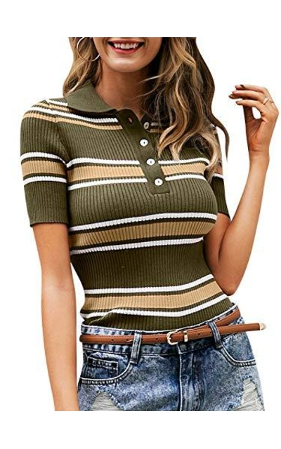 BerryGo Striped Ribbed Tee