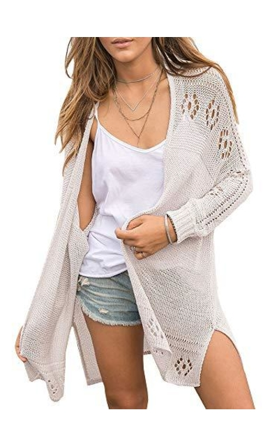 Misassy Open Front Knit Sheer Cardigan