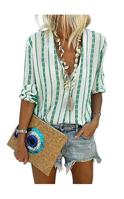 Biucly Striped Button Down Top