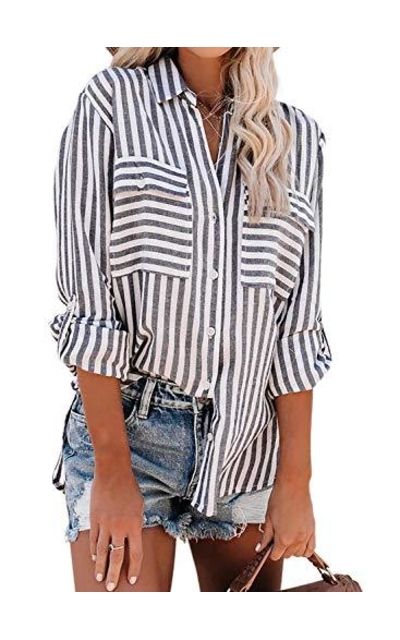 Happy Sailed Stripes Button Down Shirt