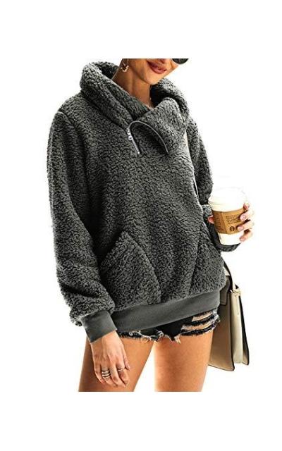 KIRUNDO 2019 Sweatshirt Faux Shearling  Pullover