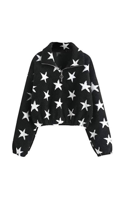 ZAFUL Sherpa Star Crop Sweatshirt