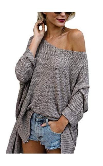 Beyove  Waffle Knit Off Shoulder Oversized Pullover