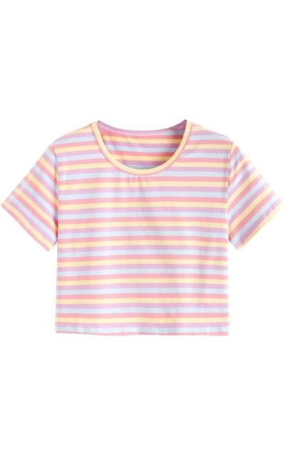 SweatyRocks Striped Tee Shirt Crop Top