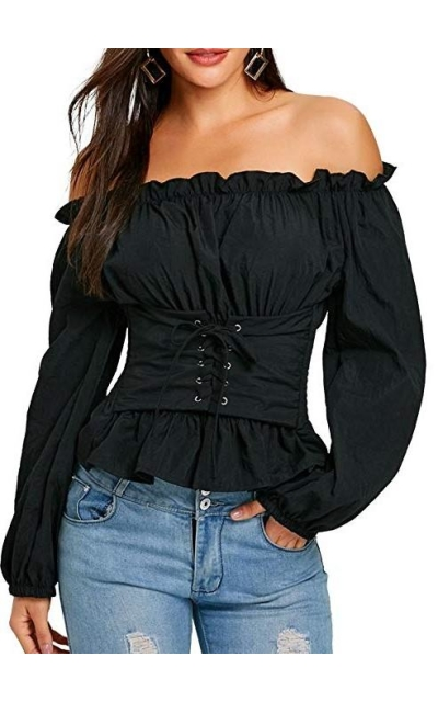 CHARMMA Off The Shoulder Lace Up Smocked Blouse Top