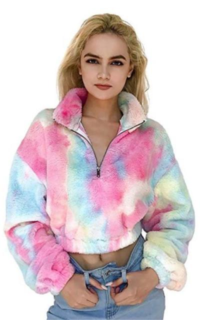 malianna Tie Die Zipper Sherpa Pullover