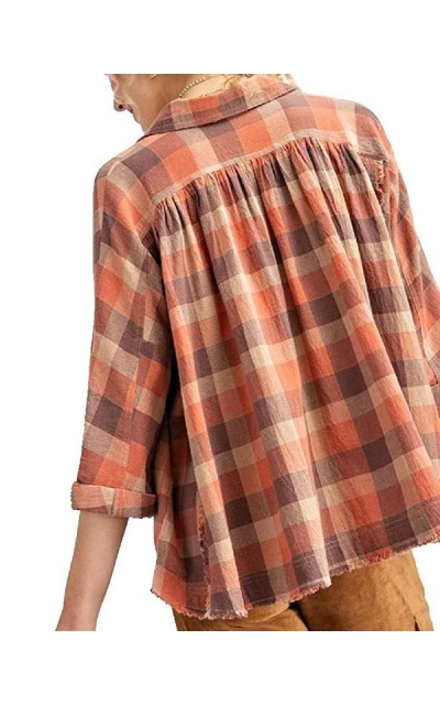Over-Sized Swing Style Plaid Button Down Shirt