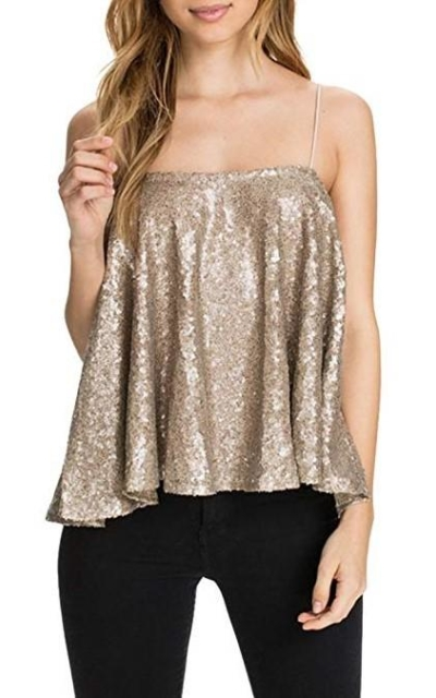 ASMAX HaoDuoYi Sparkly Sequin Spaghetti Strap Crop Top
