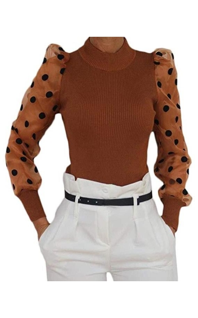 Mesh Puff Sleeve Sweater