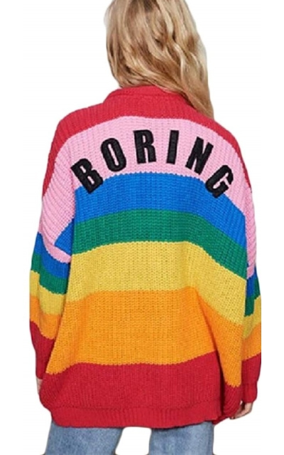 CORIRESHA Macaron Rainbow Color Striped Cardigan Sweater