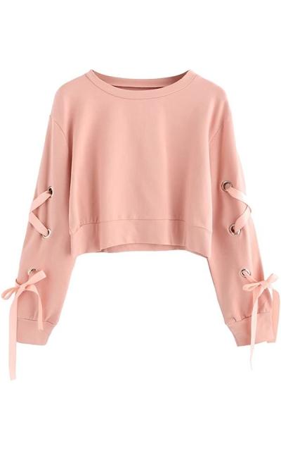 SweatyRocks Casual Lace up Crop Top Sweatshirt