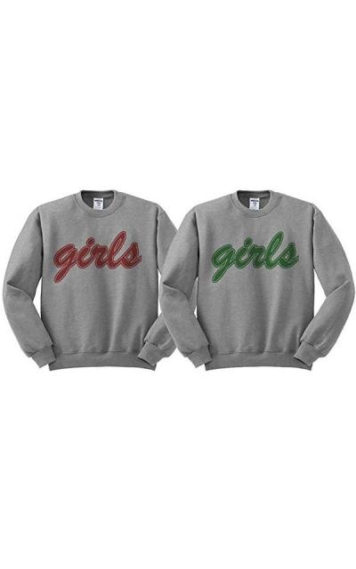 Friends Girls BFF Duo Sweatshirt Men's/Unisex Grey