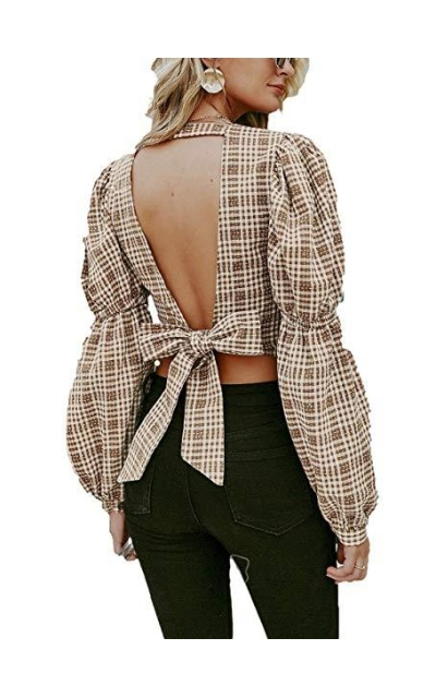 Simplee Plaid  Backless Tie Knot Top