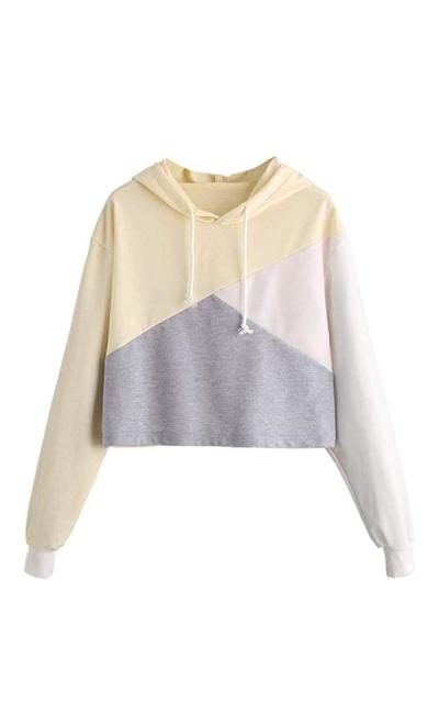 Romwe Color Block Crop Top Hoodie Sweatshirt