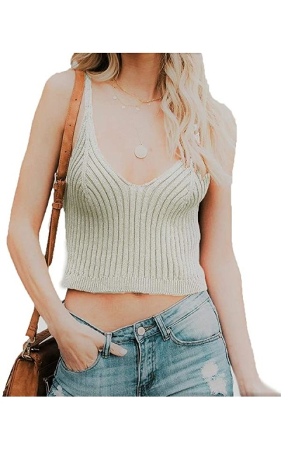 HZSONNE Rib Knit Camisole Crop Top