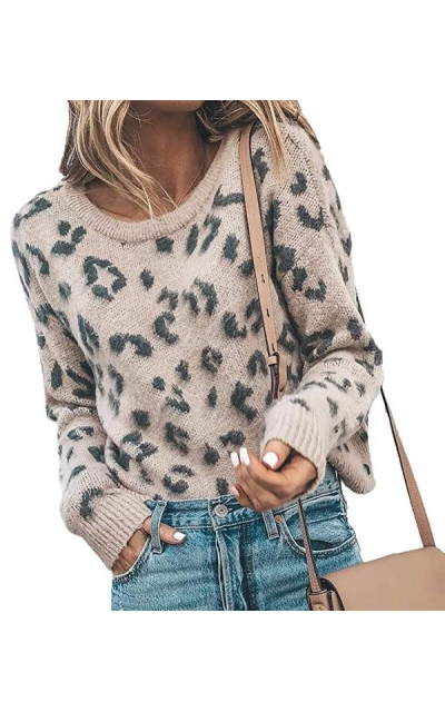 HZSONNE Leopard  Knitted Fuzzy Sweater