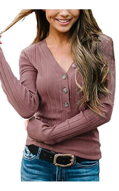 Button Up Ribbed Knit Henley Tops
