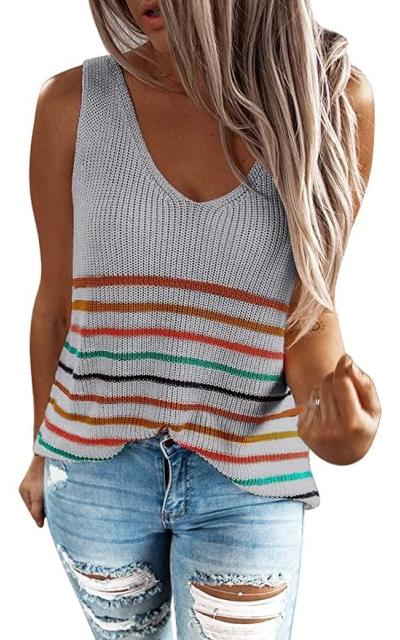 BLENCOT Striped Knit Soft Tank Top