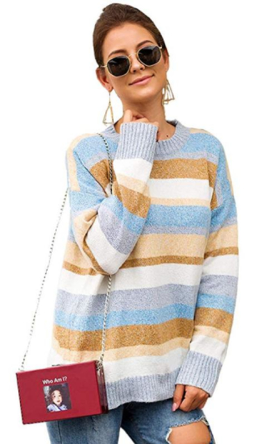 Milumia Colorblock Round Neck Sweater