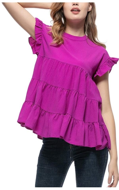 Ruffled Multi-Layer Pleated Top