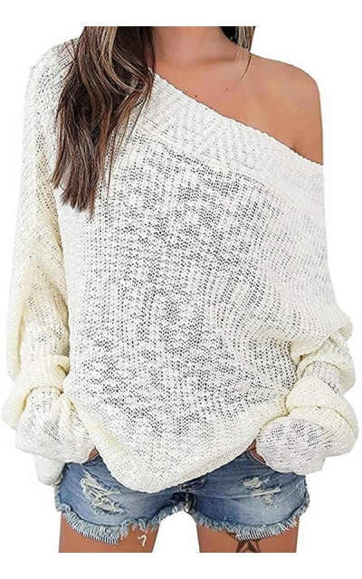 Exlura Off Shoulder Oversized Pullover Sweater