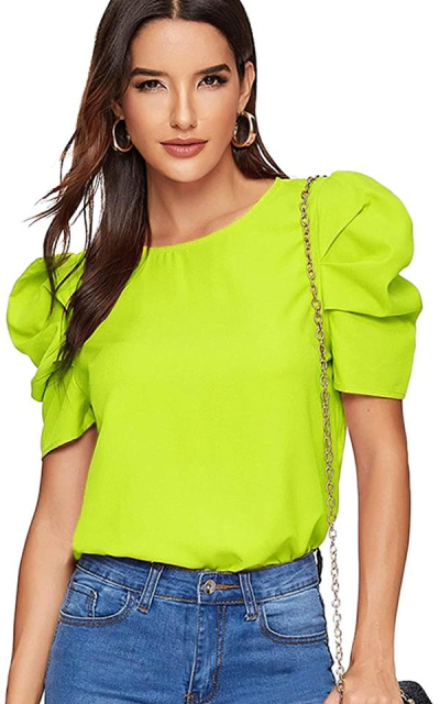 Floerns Puff Sleeve Top