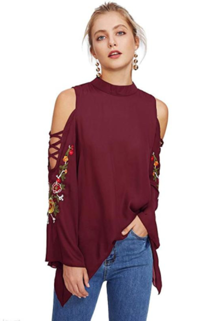 Milumia Cold Shoulder Floral Embroidery Top
