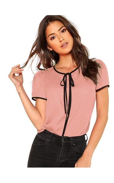 Floerns Tie Bow Neck Chiffon Top