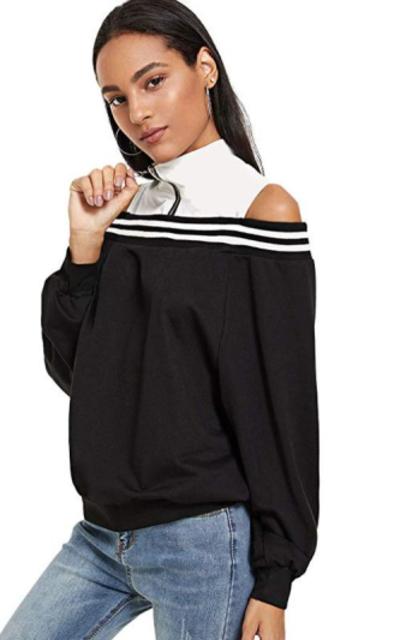 SweatyRocks  Cut Out Open Shoulder Zip Sweatshirt