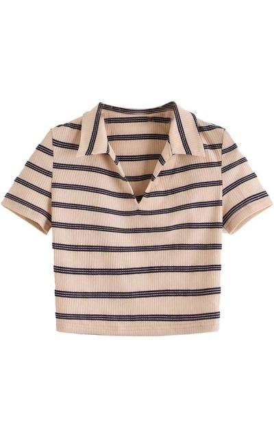SweatyRocks  Collar Half Button Crop Top T-Shirts
