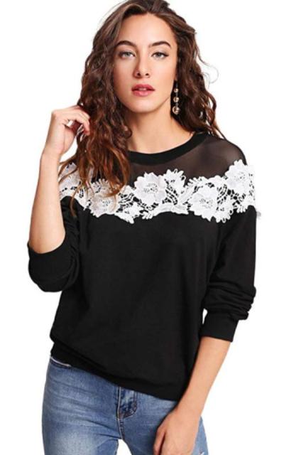 SOLY HUX Mesh Yoke Lace Applique Pullover Sweatshirt