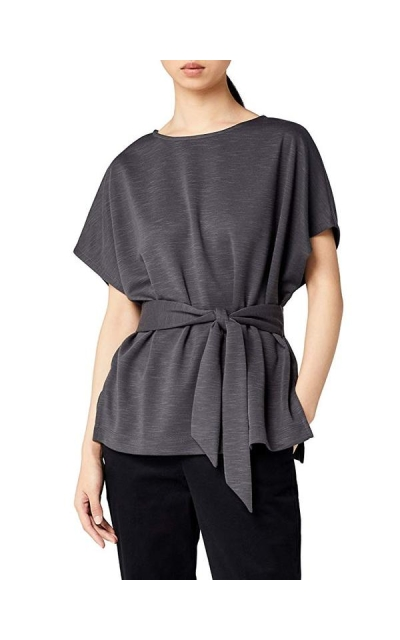 Amazon Brand - Meraki Relaxed Fit Jersey Tie Front Top