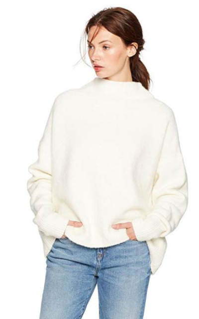 Cable Stitch Mock Neck Cozy Sweater