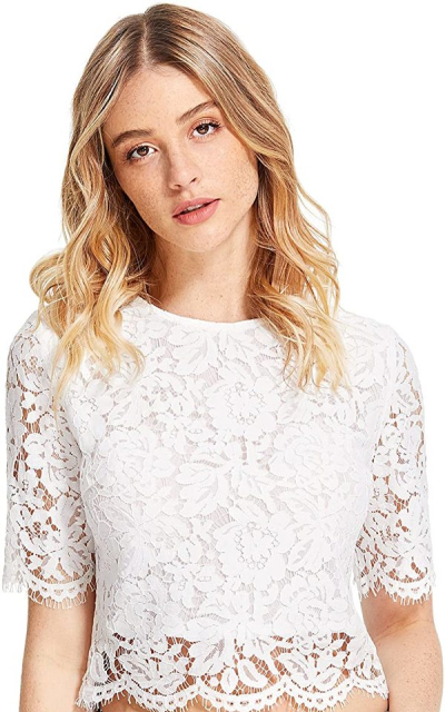 MakeMeChic Short Sleeve Lace Crop Top