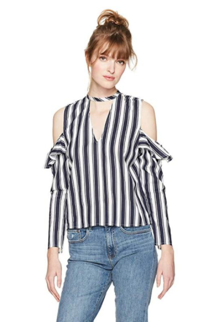 Serene Bohemian Frilled Sleeves Cold Shoulder Top
