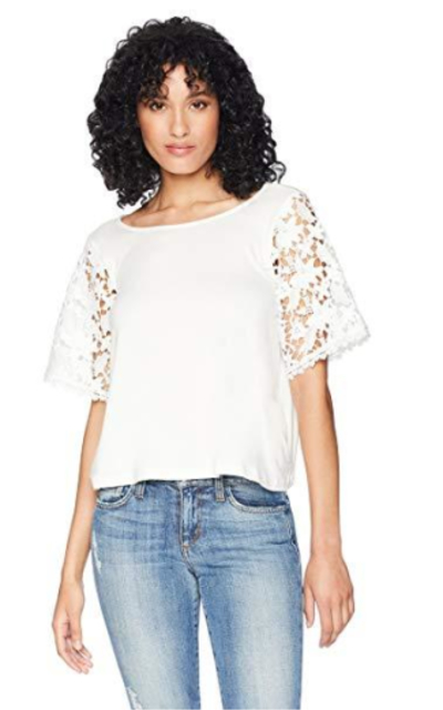 Romantic Dreamers Lace-Sleeve Top