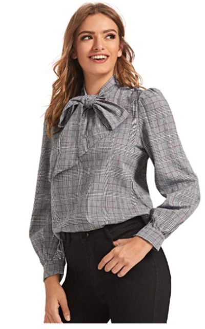 SOLY HUX Plaid Bow Tie Neck  Top