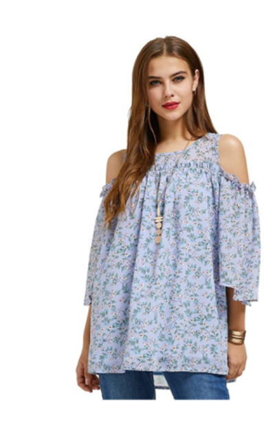 SONJA BETRO Printed Floral Cold Shoulder Top