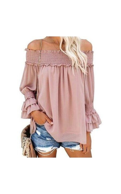 Blooming Jelly Off Shoulder Chiffon Blouse