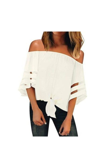 LookbookStore Off Shoulder Mesh 3/4 Bell Sleeve Top
