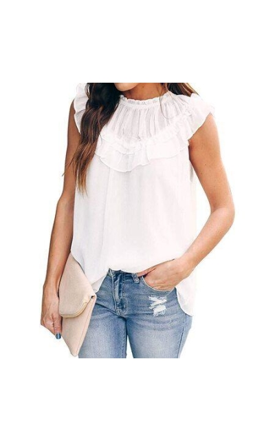 EVALESS Ruffle Trim Top Blouse Shirt