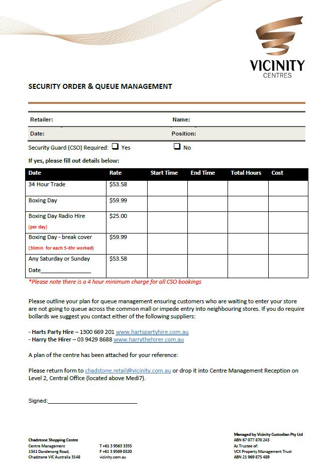 Security Order & Queue Management Form
