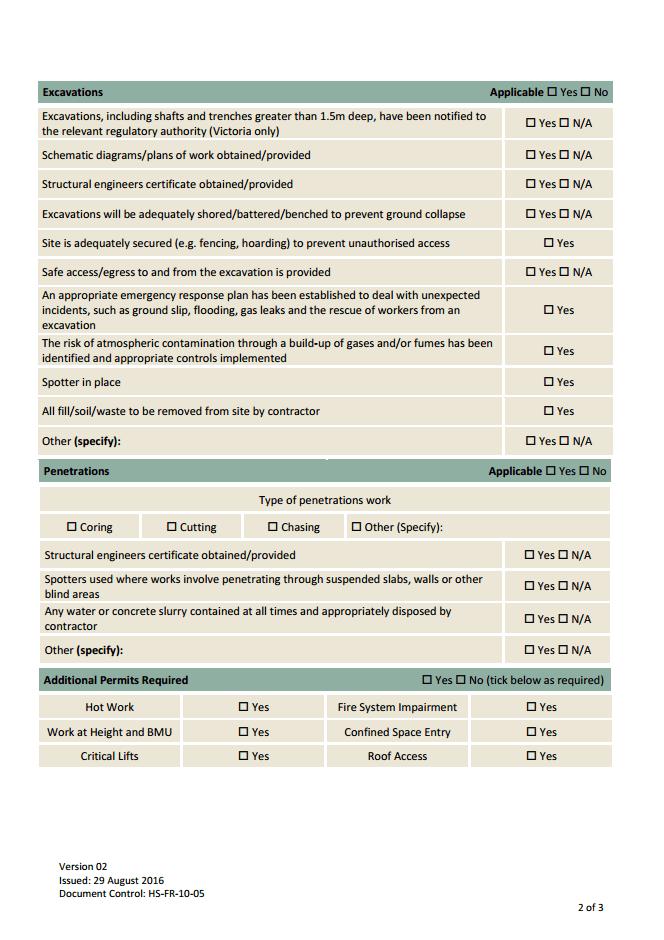Penetrations & Excavations Permit